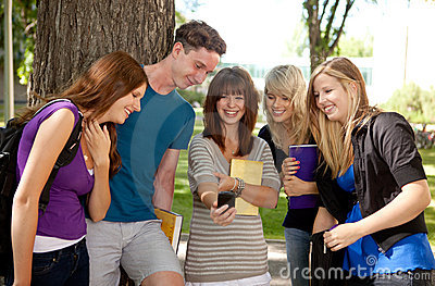 Students Laughing at Phone