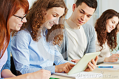 Students online with tablet