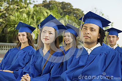 Students Looking Away During Graduation Ceremony