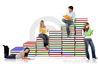 Students with a pile of books