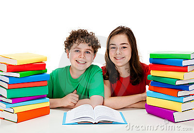 Students and pile of books