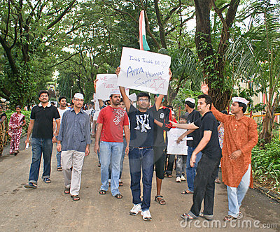 Students protesting against corruption in India Editorial Stock Image