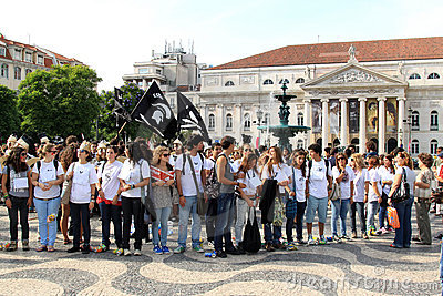 Students in ragging at the Rossio Square, Lisbon Editorial Photography