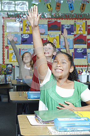 Students Raising Hands To Answer