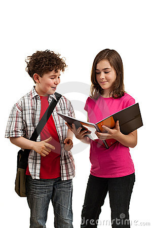 Students reading book