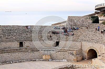 Students in Roman Amphitheatre, Tarragona Editorial Image