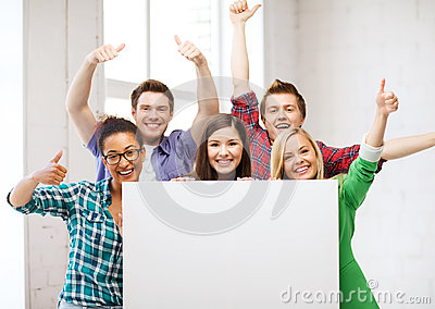 Students at school with blank white board