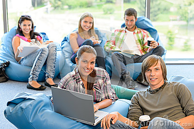 Students sitting on beanbags in study room