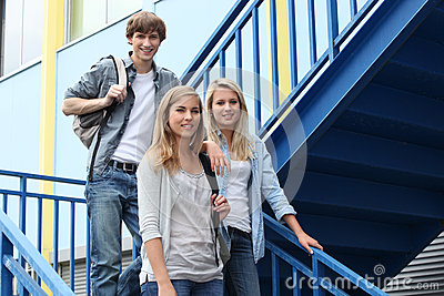 Students in stairs