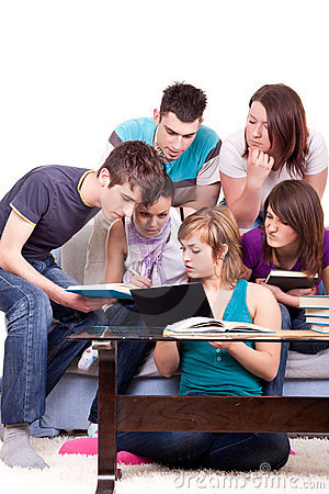 Students studying together  home