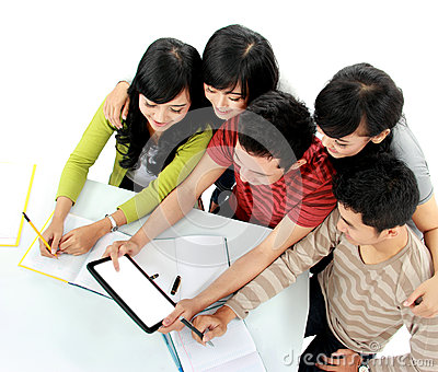 Students with tablet Stock Photo