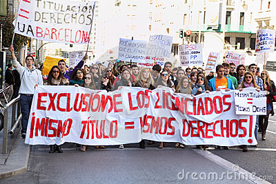 Students take part in demonstration Editorial Stock Photo