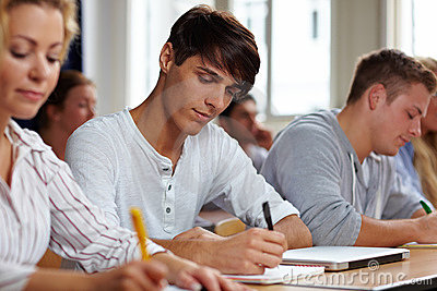 Students taking a test