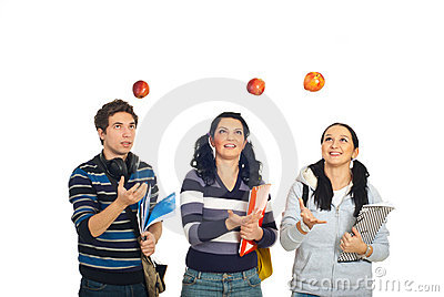 Students throw up apples
