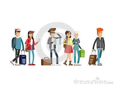 Students traveling vocation time Vector Illustration