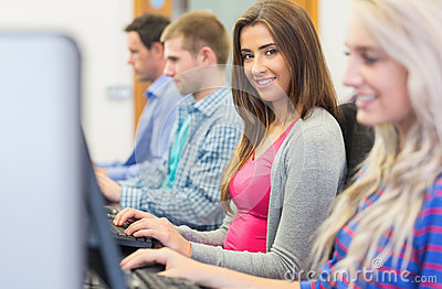 Students using computers in the computer room