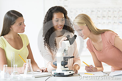 Students Using Microscope In Chemistry Class