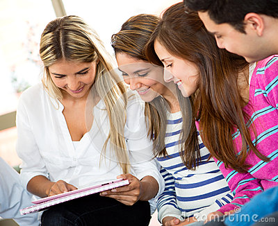 Students using a tablet