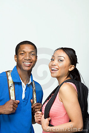 Free Students Wearing Backpacks - Vertical Royalty Free Stock Image - 5559716