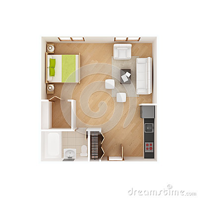 Studio apartment floor plan isolated on white
