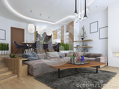 Studio apartment with living room and dining room in a for Dining room table for studio apartment