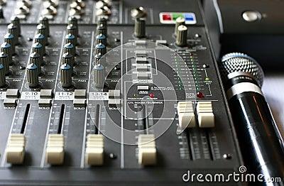 Studio audio mixer with microphone