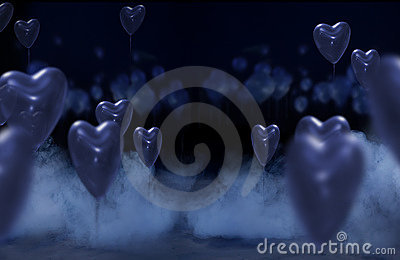 Studio background with hearts