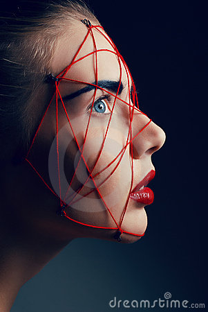 Free Studio Beauty Portrait Of Youg Woman With Red Web Royalty Free Stock Image - 16500366