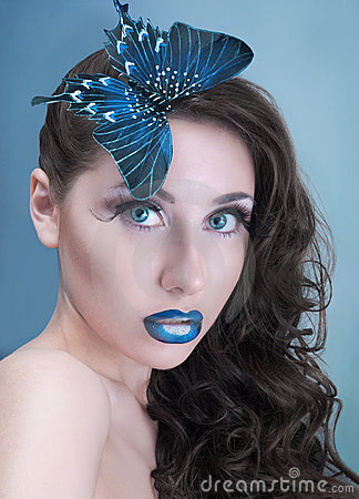 Free Studio Beauty Portrait With Blue Butterfly Stock Image - 19033101