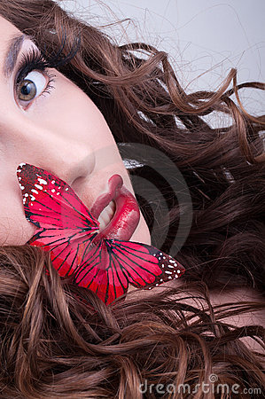 Free Studio Beauty Portrait With Red Butterfly Stock Image - 20305541