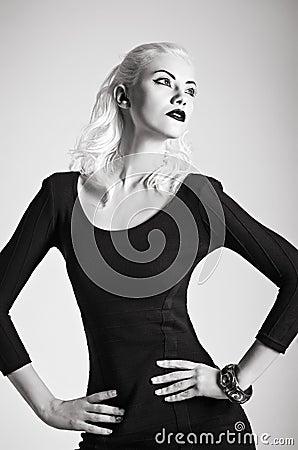 Free Studio Fashion Shot: Beautiful Girl In Black Dress. Black And White Stock Photos - 29947793