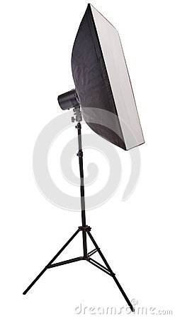 Studio flash and soft box isolated on white
