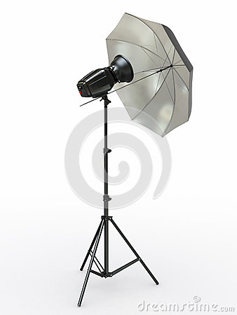 Studio lighting equipment. Flash and umbrella