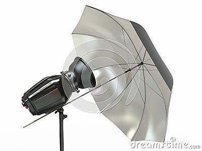 Studio lighting equipment. Flash and umbrella