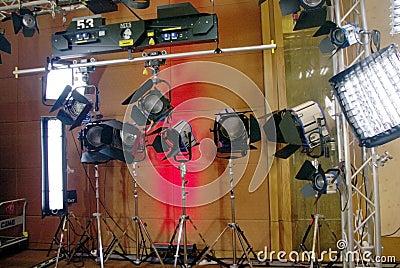 Studio lights Editorial Stock Photo