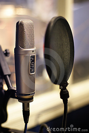 Studio microphone in backlight