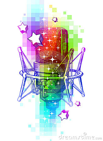 Studio microphones on a multicolored background