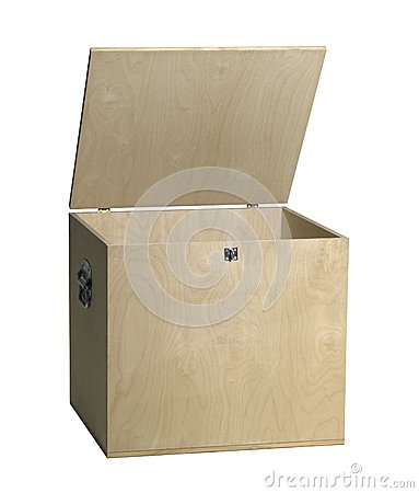 Open wooden box