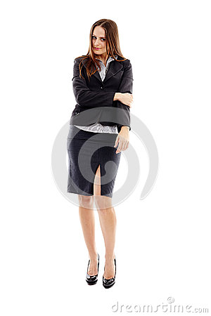 Studio portrait of attractive businesswoman