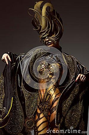 Free Studio Portrait Of Beautiful Model With Fantasy Golden Butterfly Body Art Stock Image - 59678531