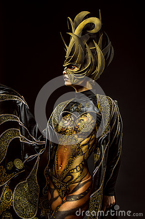 Free Studio Portrait Of Beautiful Model With Fantasy Golden Butterfly Body Art Royalty Free Stock Image - 60019046