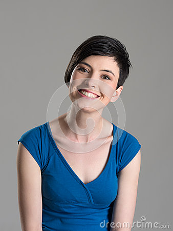 Free Studio Portrait Of Cute Lovely Short Hair Brunette Beauty Smiling At Camera With Slightly Tilted Head Stock Images - 71034934