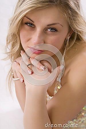 Studio portrait of pretty woman