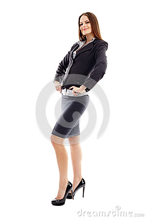 Studio portrait of smiling businesswoman