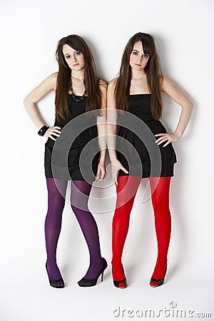 Studio Portrait Twin Teenage Girls Royalty Free Stock Photo ...