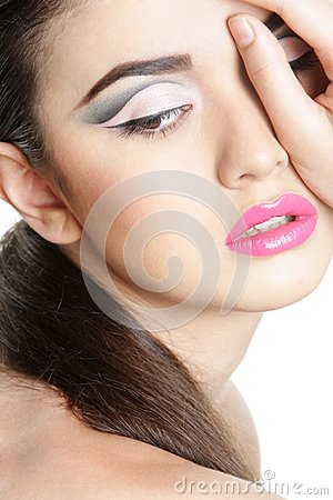 Studio portrait of young beautiful woman
