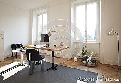 Studio room with furniture retro