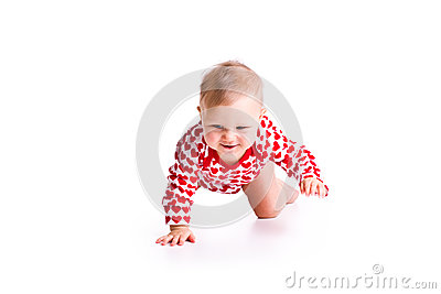 Studio shot of baby crawling