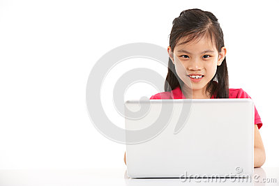 Studio Shot Of Chinese Girl With Laptop