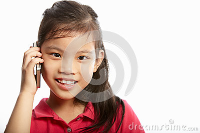 Studio Shot Of Chinese Girl With Mobile Phone